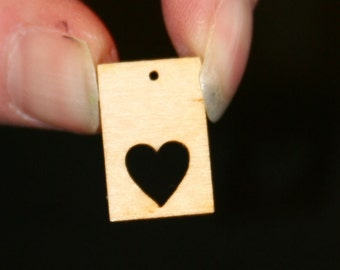 Unfinished Wood Rectangle - 3/4 inches by 1/2 inch and 1/8 inch thick with .3 heart cutout and 1 1mm hole wooden shape (RTWH07)