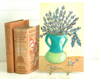 Original Painting - Lavender Flowers in Two Tone Vase - contemporary, acrylic painting, still life, whimsical art, colorful art
