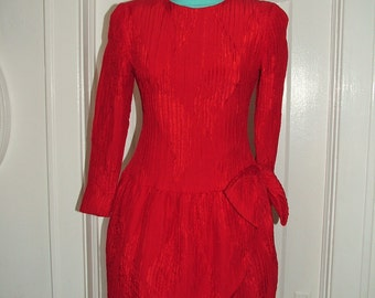 Lawrence Red Silk 80s dress