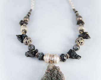 Soul Armor One Of A Kind Druzy in Sterling with Beads from India