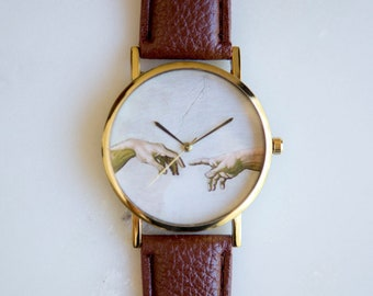 Michelangelo Creation of Adam Watch (Brown), Women Watches, Womens Watches, Women's Watches, Women Watch, Women's Watch, Renaissance
