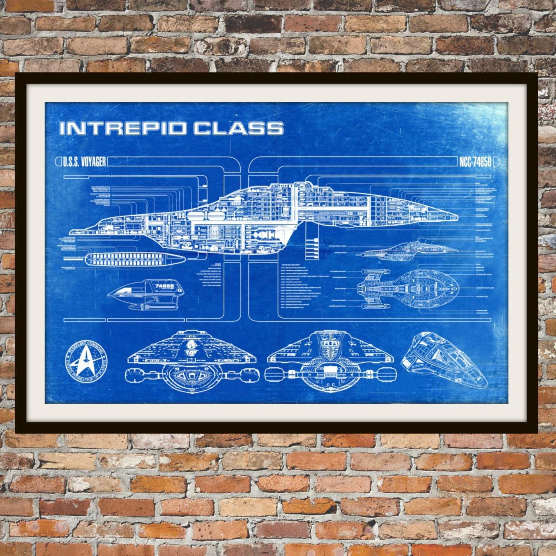 Trek voyager blueprint art of intrepid uss voyager class zoom malvernweather Gallery