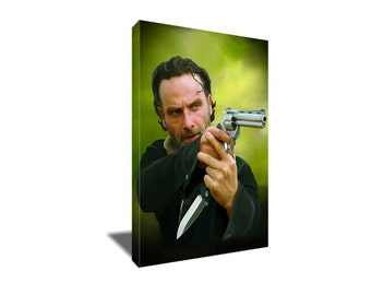 FREE SHIPPING The Walking Dead's Badass Rick Grimes Canvas Art