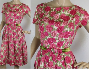 Vintage 1950s pink green floral taffeta party dress small 334