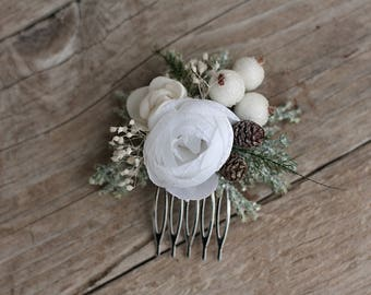 Winter hair comb, floral hair comb
