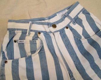 Vintage 80s Blue Stripe Denim Shorts High Waist Vintage 80s Chic stripe shorts stripe denim Jean Shorts 26 waist