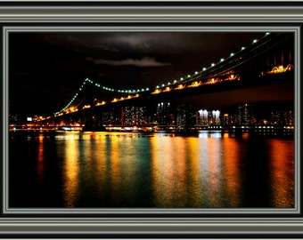 New York Cityscape Decal, Cityscape Wall Decal, Skyline Wall Decal, New York Scenery, Large Wall Decal, New York Night Life, Bridge at Night