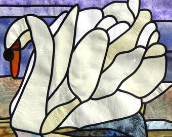 """Stain Glass Quilt Pattern """"Swan Lake"""""""