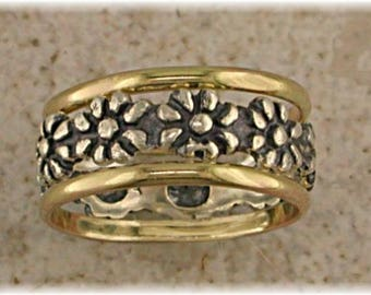 Daisy Stack --Sized Thumb and Finger Ring -- Sterling Silver -- 14k Gold Filled
