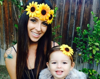 Mommy and Me matching Bohemian Flower Power Headbands, Flower Crown - Halo