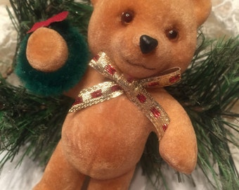 FLOCKED TEDDY BEAR Christmas Ornament