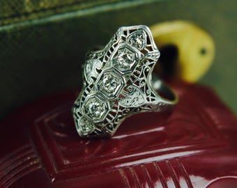 Vintage diamond filigree ring 14k white gold engagement wedding ring antique art deco