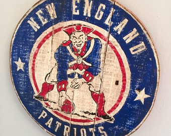 Hand Painted, Vintage Styled, New England Patriots Plaque