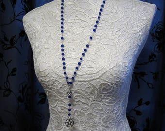 Matte Blue Pentagram/Triquettra Rosary