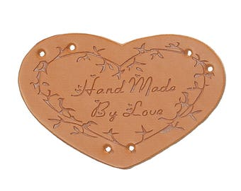 """Label to sew """"Handmade by love"""" heart shaped faux leather"""