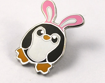 Pengbunny Pin, Penguin Pin, Enamel Penguin Pin, Penguin Badge, Cute Pin, Lapel Pin