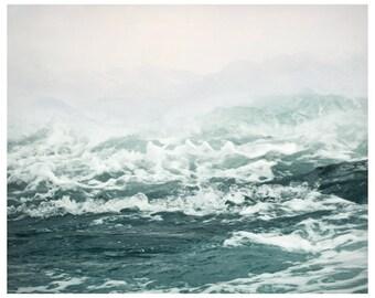 Large coastal wall art, Pastel ocean print, Photography Sea print, Ocean waves art, Abstract seascape living room decor Teal wall art, 16x20