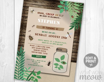 Garden checklists etsy bug hunt inspector birthday invitations party garden invite instant download beetles jar leaves fun ladybug printable insect bugs nature stopboris Gallery