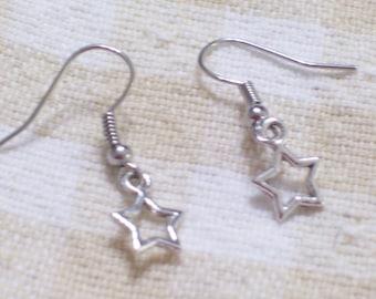 Star Earrings, Silver Star Earrings, Twinkle Twinkle Little Silver Star Earrings, Star Jewelry, Beach Jewelry, Beach Earrings