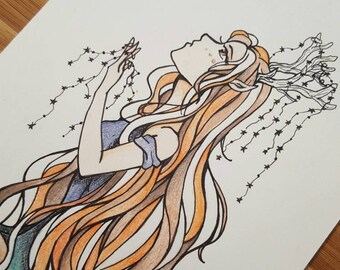 Deer Girl Fantasy Art Ink Drawing