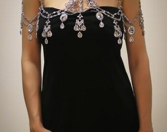 Crystal Shoulder Necklace Penelope, Rhinestone Bolero