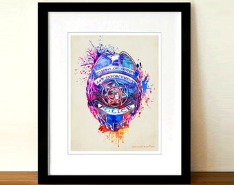"""Fine Art Print: -  """"Watercolor Police Badge"""" - 8.5""""x11"""", Police Officer gift, Police Badge print, Police Fundraiser gift, Police Dad gift"""