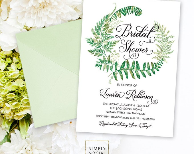 Greenery Bridal Shower Invitation - Minimalist Invite Fern Printable Bridal Shower Laurel Invitation Modern Calligraphy Watercolor Printable
