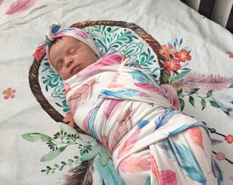 "Dream catcher Baby Blanket - ""Dream Big Little One"" - Dream catcher Toddler Comforter - Dream Catcher Bedding - Baby Girl Blanket"