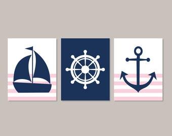 Nautical Nursery Art Pink Navy Nursery Prints Or Canvas Wall Art Girl Nursery Prints Nautical Wall Decor Nautical Girl Bedroom Set of 3