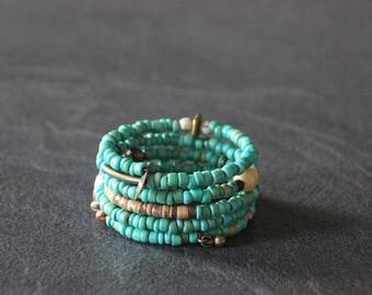 Boho Cuff Bracelet ethnic memory MULTISTRAND wrap, turquoise and bronze beads coco, Horn, wood, seeds, charms