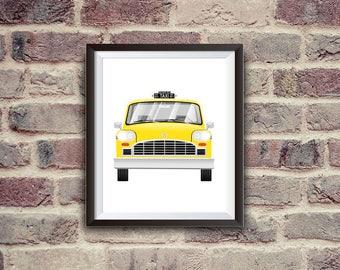 new york taxi, yellow cab, checker, car illustration, nursery decor, instant download, printable art, nyc, digital art