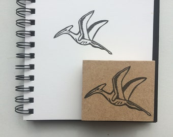 Hand carved rubber pterodactyl stamp / dinosaur craft/ mail art / journaling / scrapbooking