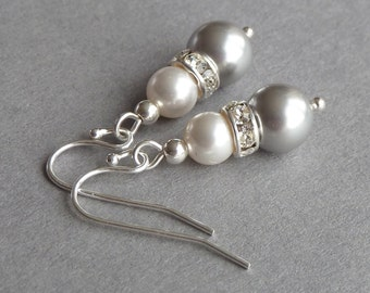 Silver Grey Earrings - Light Gray Bridesmaid Jewelry - Ivory and Pale Grey Pearl Drop Earrings - Bridesmaids Gifts - Wedding Accessories