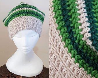 THE SLOUCH Handmade Boho Alpaca Wool Blend Crochet Knit Beanie Slouchy Hippy Indie Hat Cream & Green Stripes
