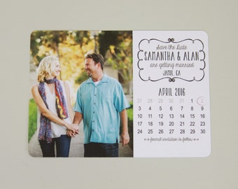 Photo Save the Date Postcard with Calendar // Wedding Save the Date Postcard Announcement