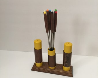 1970's Fondue Fork Holder Salt and Pepper Shaker Set Bright Yellow and Wood Retro MOD