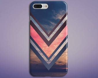 Pink x Navy Chevron Ocean Sunset Phone Case, iPhone X, iPhone 8 Plus, Protective Phone Case, Galaxy s9 Samsung, Nature, Beach, CASE ESCAPE