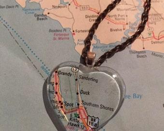 Duck, NC Vintage Map Pendant Necklace