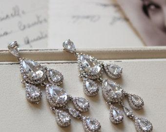 Art Deco Earrings , Vintage Style Crystal  Earrings, Bridal Earrings,  Wedding Earrings, Crystal Drop Earrings, Crystal Chandelier  Earrings
