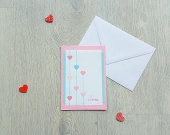 Valentine card love card, love you card, card, handmade, custom map card card and envelope, greeting card