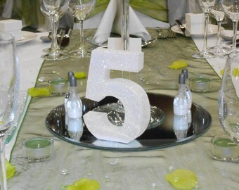 Wedding table number Set of 11 wooden freestanding glitter table numbers Wedding reception decorations
