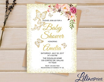 Baby Shower Invitation, Baby Shower, Printable Baby Shower, Butterfly Baby Shower invite, Flowers Baby Shower Invitation, Digital file, B 38