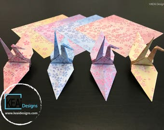"Bulk (Large 6""x6"") Sakura Origami Cranes // Origami Wedding or Bridal Favors // Origami Party Favors // Origami Holiday Favors - KEAiDesigns"