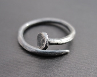 Nail Ring - Hand-Forged Sterling Silver Industrial Ring