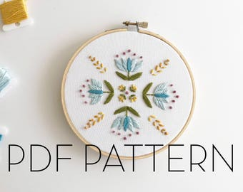 Floral Mandala Embroidery II Pattern // PDF pattern // Digital download// DIY Embroidery
