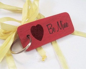 Be Mine Valentine's Keyring - Heart Keyring - Oak Wood Keychain - Valentine's Day Gift - Gift for Her - Gift for Him - Red Keyring