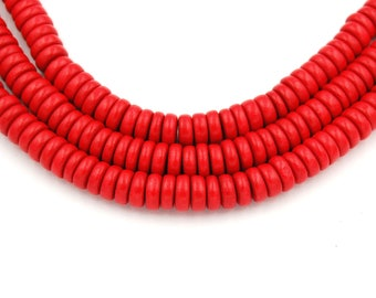 Bright Red Wood Rondelle 8x4mm, Chili Red Boho Wood Beads -16 inch strand