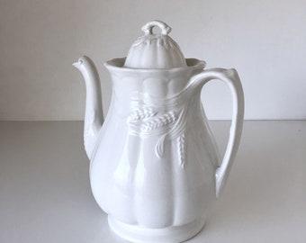 Vintage English Ironstone Coffee Pot Royal Crownford Wheat Pattern