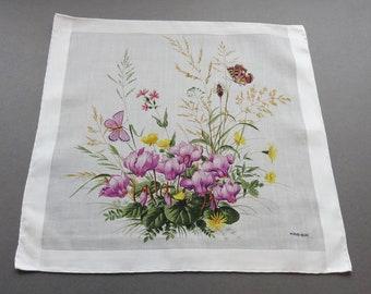 Swiss Kreier Vintage Flowers & Butterflies Theme Cotton Hankie Handkerchief
