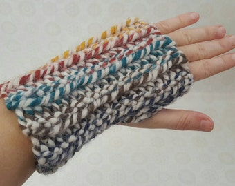 Chunky Crochet Wool Wrist Warmers - Rainbow